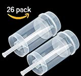 Best Starloop 26 pack Round Shape Clear Push-Up Cake Pop Shooter (Push Pops) Plastic Containers with Lids, Base & Sticks