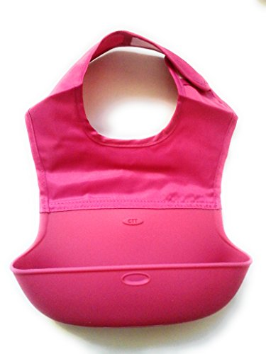 Baby Roll up Bib, By Luliey. Silicone, best feeding bibs for infant / child (1, Pink) (Batgirl Costume Bib)