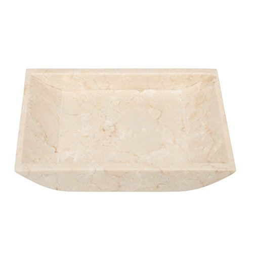 Creative Home Champagne Marble Stone Boat Shaped Candle Holder-Medium, Beige