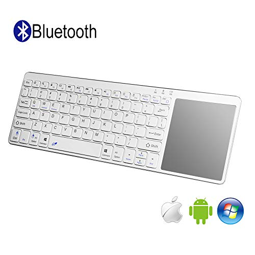 Alitoo Wireless Bluetooth Keyboard with Built-in Multi-Touch Large Size Mouse Touchpad,Ergonomic Ultra-Slim Protable Keyboard Compatible with Smartphone,iPad,Laptop(White)(Battery not Included)