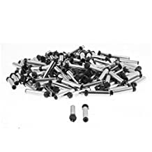 uxcell® 3.5mm x 1.1mm DC Power Jack Male Connector Adapter Black Silver Tone 150pcs