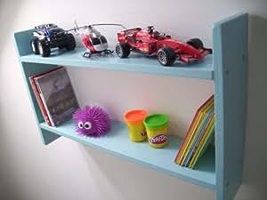 74 cm de ancho para niños turquesa estantes, para almacenamiento de DVD, soporte para CD, de noche con, estantes para niños, muebles para niños, guardar juguetes, diseño con texto en inglés, estantería para libros