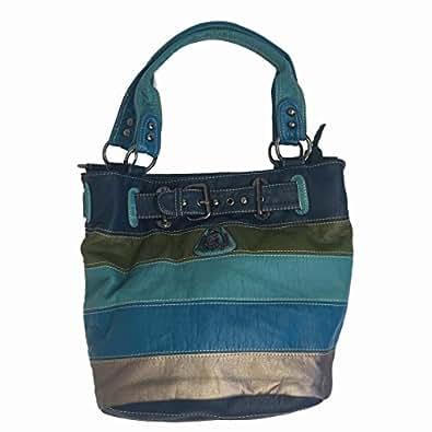 AZALCO Single Zipper Multi Pocket Denim Medium Blue Mixed Women's Shoulder Handbag Washed bag Designer Handbags for Women