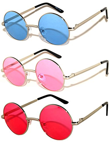 Round Retro Vintage Sunglasses Silver Metal Frame Blue Pink Red 3 Pairs - Blue Round Glasses