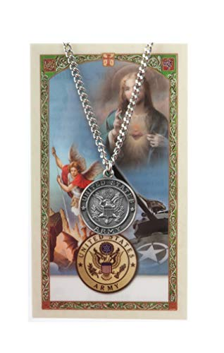 Inspire Nation US Army St Michael Pendant Medal Pewter on 24 inch Stainless Steel - Army Michael Medal
