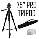 """75"""" Professional 3-Way Pan Head Tripod For Canon 5D Mark III, 5D Mark II, 5V Mark IV, 5DS, 5DS R, 6D, 70D, 80D, SL1, 60D, 7D, 7D Mark II, T6s, T6i, T6, T5i, T5, T4i, T3i, T3, T2i, T1i, Xsi, XS, SX500 IS, SX510 HS, SX520 HS, SX530 HS, SX60 HS"""