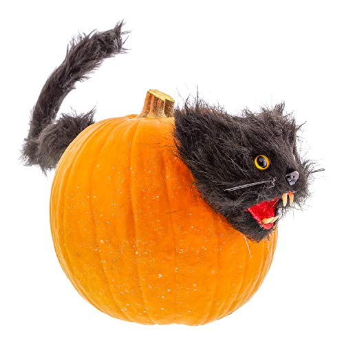 (Halloween Haunters Black Cat Pumpkin Push-in Prop Decoration - Scary Kitty Head and Tail with Push Pin Stake Prongs Spooky Yellow Eyes Create Fun Spooky Jack-O-Lanterns Haunted House Entryway)