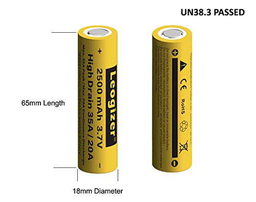 Leogizer 2xPCS 18650 High Drain Lithium ion Battery with Charger, 3.7V Li-ion Rechargeable 2500mAh Max.35A Peak/20A Continuous Discharge, Independent 2 Bays 1.5A Quick Charger