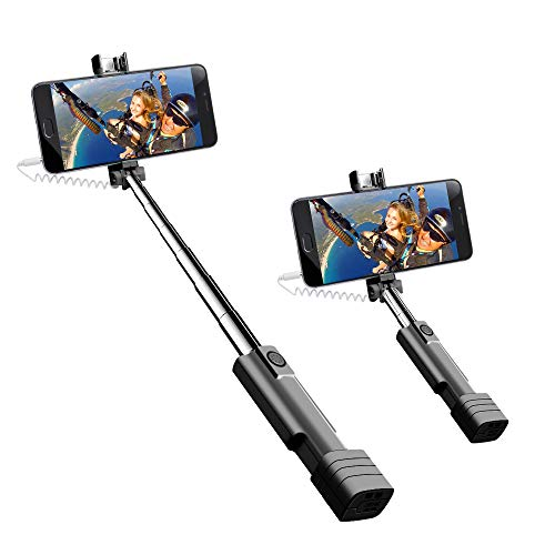 Mini Selfie Stick, atongm Cell Phone Selfie Sticks Extendable Mini All in One Wire Selfie Stick for Cellphone(iPhone, Android) (Black)
