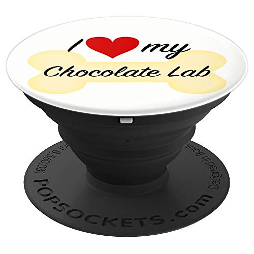 Chocolate Lab Puppy Love I Love My Chocolate Lab Pup Love My - PopSockets Grip and Stand for Phones and Tablets (Chocolate Lab Puppies)