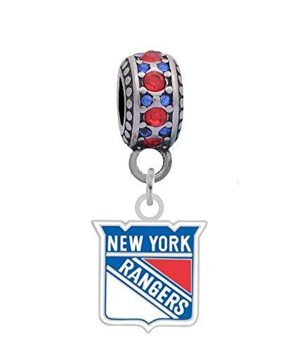 New York Rangers Charm (New York Rangers Logo Charm Fits European Style Large Hole Bead Bracelets)