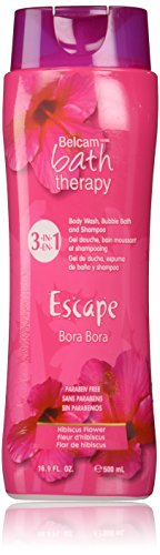 Escape Bubble Bath (Belcam Bath Therapy Escape 3-in-1 Body Wash, Bubble Bath and Shampoo, Bora Bora Hibiscus Flower, 16.9 Fluid Ounce)