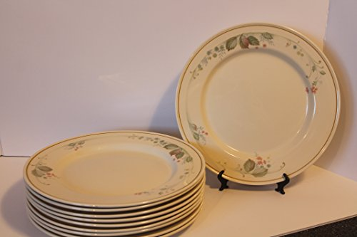 "Steelite International England SET/5 Dinner Plates 11 3/4"" Ivory Base Color w/ Golden Tan Rim ~ delicate flower, leaves, and berry pattern~"