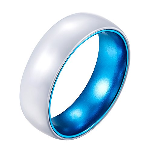 POYA 8mm White Ceramic Ring with Anodized Blue Aluminum Sleeve Wedding Bands (8) by POYA