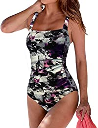 2e268957818a Women s Vintage Padded Push up One Piece Swimsuits Tummy Control Bathing  Suits Plus Size Swimwear