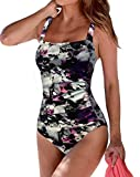 Upopby Women's Vintage Tummy Control One Piece Swimsuits Monokini Printed Plus Size Swimwear Bathing Suits Purple Floral 14