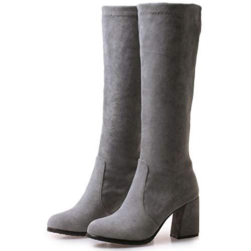 Hiver Bottes Taoffen Gris Hautes Femmes Talon Mode Chaussures À RqP4ZAI