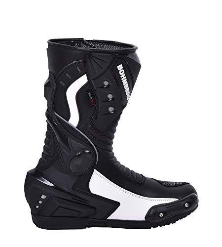 Bohmberg Herren Motorradstiefel, Sportstiefel aus Leder, Motorradschuhe Wasserdicht aus stabilem Leder mit aufgesetzten…