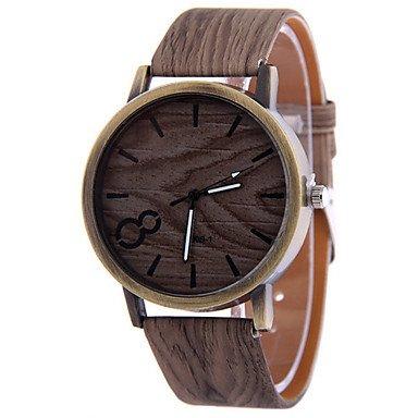 Alcateny(TM) Hombre Reloj Madera Reloj de Pulsera Cuarzo Reloj Casual Piel Banda Negro Blanco Gris (Color: Al azar)