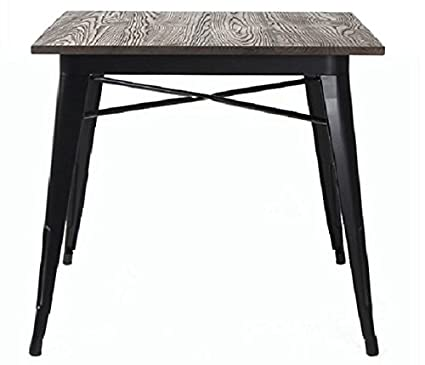 Metal Indoor Outdoor Dining Table With Elm Wood Top, Black