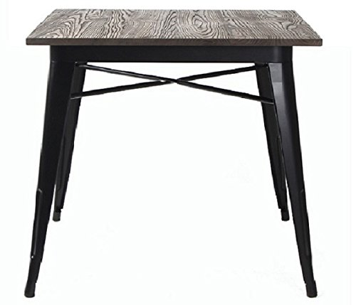 VIVA HOME Metal Indoor-Outdoor Dining Table with Elm Wood Top, Black (Metal Wood Top Legs Table)