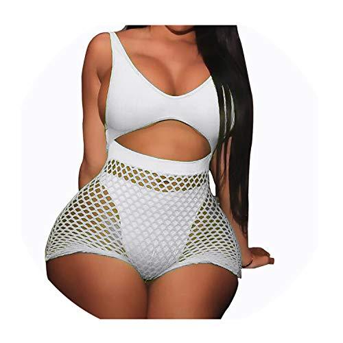 Fishnet Mesh Neon Swimsuit Two Pieces Swimwear High Waisted Monokini for Women Beachwear White S (Best Crossword App Uk)