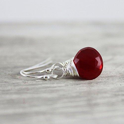 Red Quartz Earrings - Apple Red Quartz Sterling Silver Earrings