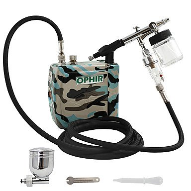 0.3mm Airbrush Spray Paint Camouflage Air Compressor Kit with 22cc Pot for Temporary Tattoo Makeup Hobby