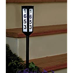 "Keep Your House Number Visible Day and Night with 24"" Solar Address Stake"