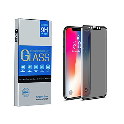 iPhone X Privacy Screen Protector - Qilang 4D Curved Anti-Spy Anti-Peep Full Coverage Tempered Glass Screen Cover Shield for Apple iPhone X / iPhone 10 , 5.8 Inch – Black