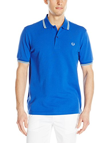 Fred Perry Men's Twin Tipped Polo Shirt, Regal/Ecru/Sky Blue, Large