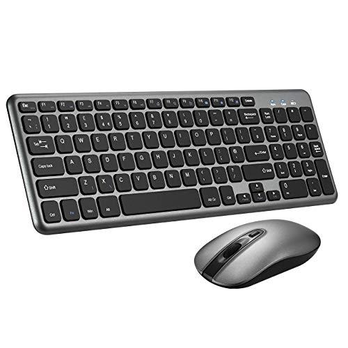 Wireless Keyboard and Mouse Set,【Scissor Key Design】Patuoxun Ergonomic 2.4G Cordless Keyboard&Mouse Combo with Nano USB Receiver for Computer PC Apple Mac Windows,QWERTY,UK Layout