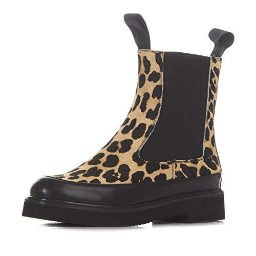 Print Bottines Rond à Talon Plat Femme pour Bout Leopard Courtes à 7qqxCvwOg