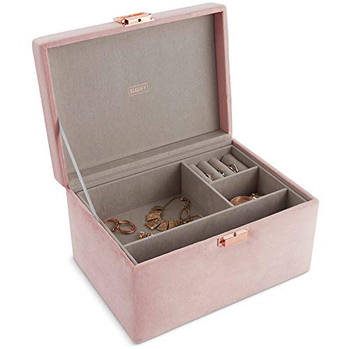 Beautify Velvet Jewelry Box Jewelry Organizer and Storage with Removable Dividers, 2 Layers for Rings, Necklace, Bracelets, Earrings and More - Pink with Rose Gold ()