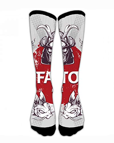 SARA NELL Compression Stocking Men Women Classic Crew Socks Japanese Samurai Warrior Personalized Athletic Socks 40Cm Long