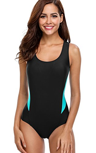 ATTRACO Womens Sport Swimsuits One Piece Athletic Bathing Suit Splice Black M