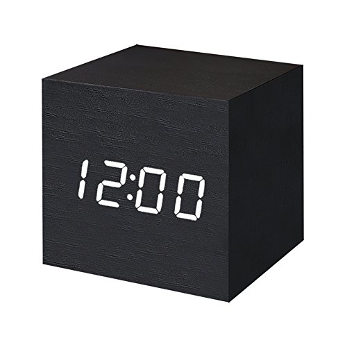 Digital Alarm Clock Wooden LED Light Multifunctional Modern Cube Displays Date Temperature for Home Office Travel-Black - Square Desk Clock