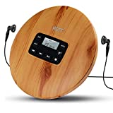 CD Player Portable, HOTT Small CD Player with Headphones, Personal Compact Discman CD Player Walkman Music CD Player, LCD Display, Electronic Skip Protection and Anti-Shock Function - Wood