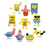 Spongebob and Patrick Mini Figures Set of 8 (Cake toppers or Party Favors)