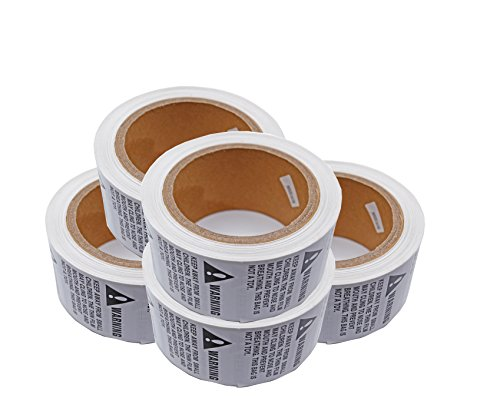 5 Rolls/2500 Labels - Suffocation Warning -