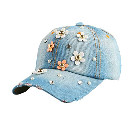 Fashion Daisy Flower Heel Decorated Hip hop Denim Outdoor Casual Summer hat Baseball Cap for Women Girl,NO.2 Color,Size 55-60 cm,15 Year Old to -