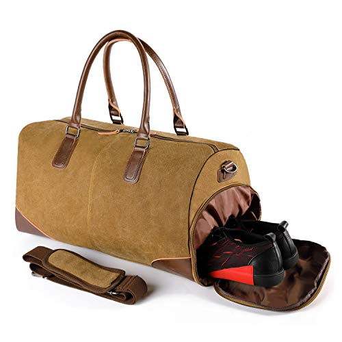 - Fresion Canvas Travel Duffel bag -Weekender Overnight Bag With Shoe Pouch Men