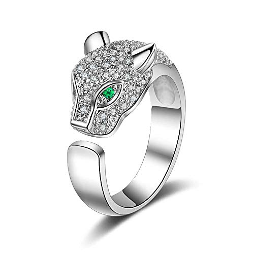Sterling Silver Leopard - efigo Fashion Leopard Toe Rings Sterling Silver Rings Adjustable Cubic Zirconia Rings for Women Girls