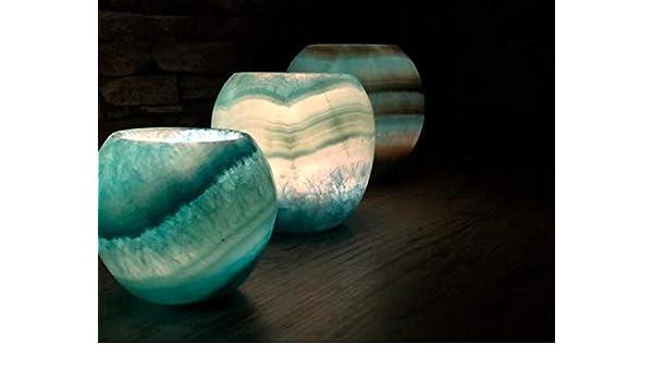 Maison Zoe Piedra de alabastro cáscara esférica pecera Set Blue - Juego de 3 - Cortado a Mano Candelabros - Decoración ~2Kilos: Amazon.es: Hogar
