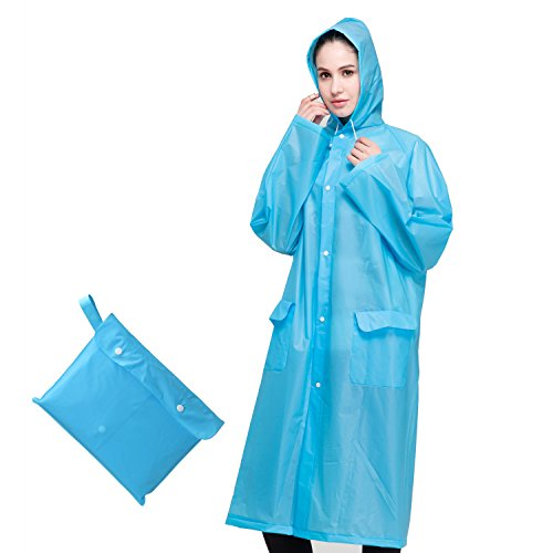 PAMASE Rain Poncho with Drawstring Hood for Adults - Durable, Lightweight & Reusable - Blue