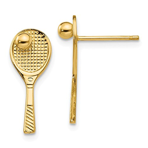 (14K Yellow Gold Tennis Racquet withBall Post Earrings - (0.71 in x 0.28 in))