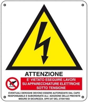 Cartellonistica Schild Schild Warnschild Alu 45 cm 45 x 35 cm - Achtung: Lässt Sich auf APPARECCHIATURE unter Spannung beachten.
