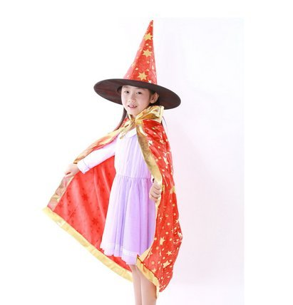 Bingo Halloween Costume (Farway Halloween Costumes Witch Wizard Cloak Cape with Hat for Kids Children Boys Girls (Red))
