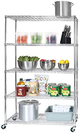 Seville Classics UltraDurable Commercial-Grade 5-Tier NSF-Certified Steel Wire Shelving with Wheels, 48″ W x 18″ D, Chrome – The Super Cheap