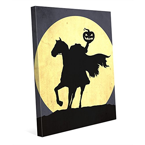 Headless Horseman Graphic Silhouette Holding Pumpkin Head on Horse Against Full Moon for Halloween on Canvas